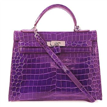 09afd51300f H35 Hermes Birkin 35CM Crocodile leather in Light Purple with Silver  hardware