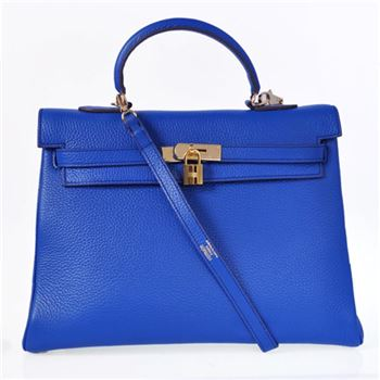 K35CVG Hermes kelly 35CM clemence leather in Violet with Gold hardware