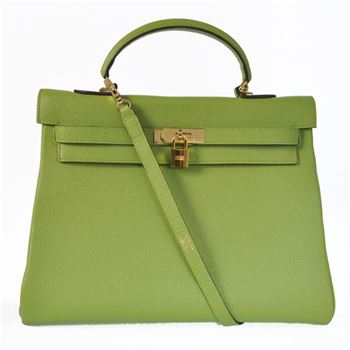 K35TLGG Hermes kelly 35CM togo leather in Light green with Gold hardware